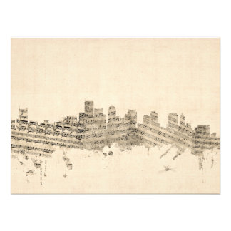 Boston Massachusetts Skyline Sheet Music Cityscape Photo Art