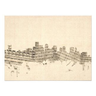 Boston Massachusetts Skyline Sheet Music Cityscape Photo Art