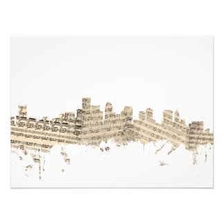 Boston Massachusetts Skyline Sheet Music Cityscape Photo Print