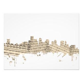 Boston Massachusetts Skyline Sheet Music Cityscape Photograph