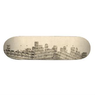 Boston Massachusetts Skyline Sheet Music Cityscape Skate Decks