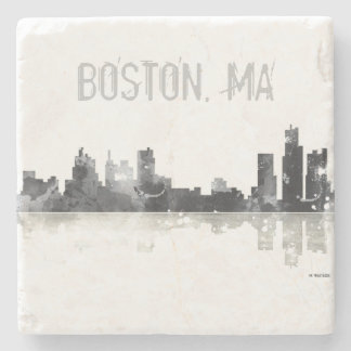 BOSTON MASSACHUSETTS SKYLINE - Stome drinks coaste Stone Coaster