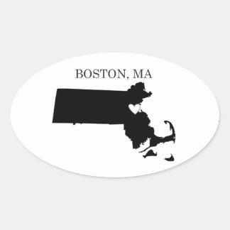 Boston Massachusetts Oval Stickers
