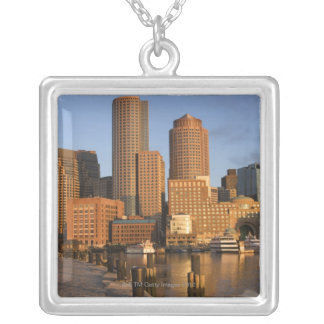 Boston, Massachusetts Waterfront Silver Plated Necklace
