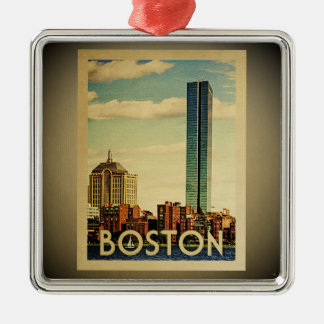 Boston Ornament Vintage Travel Skyline