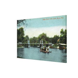 Boston Public Garden View of the Bridge Stretched Canvas Prints