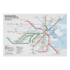 Boston Rapid Transit - with Key Bus Routes Poster