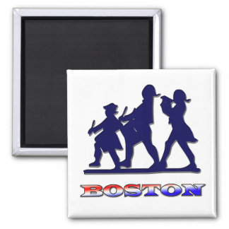 Boston Red White and Blue Square Magnet