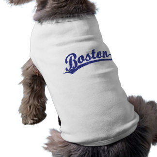 Boston script logo in blue shirt