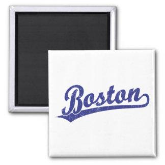 Boston script logo in blue square magnet