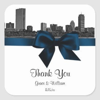 Boston Skyline Etched BW Navy Blue Favor Tag Square Sticker