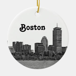 Boston Skyline Etched Christmas Ornament