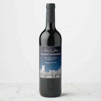 Boston Skyline Etched Starry Blue Gradient BG Wine Label