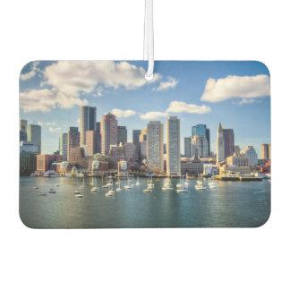 Boston skyline from waterfront car air freshener