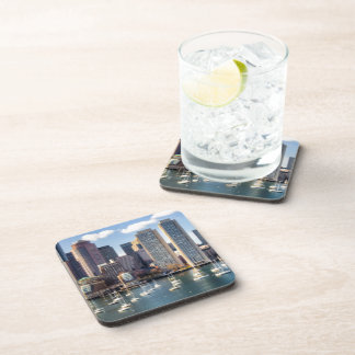 Boston skyline from waterfront drink coasters