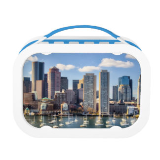 Boston skyline from waterfront lunch boxes