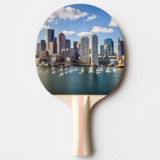 Boston skyline from waterfront ping pong paddle