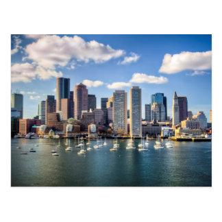 Boston skyline from waterfront postcard