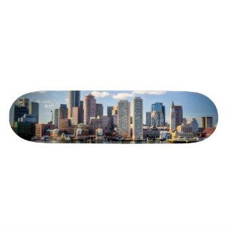 Boston skyline from waterfront skateboard deck
