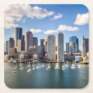 Boston skyline from waterfront square paper coaster