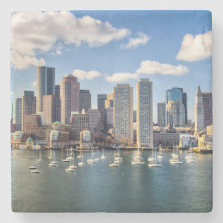 Boston skyline from waterfront stone beverage coaster