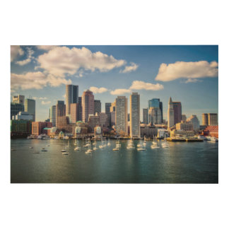 Boston skyline from waterfront wood canvas