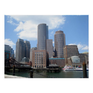 Boston Skyline in Summer Poster