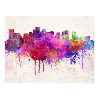 Boston skyline in watercolor background photo