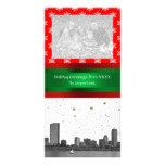 Boston Skyline Red Snowflake Christmas Personalized Photo Card