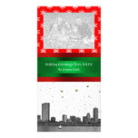 Boston Skyline Red Snowflake Christmas Personalized Photo Card