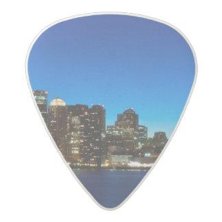 Boston skyline with moon acetal guitar pick