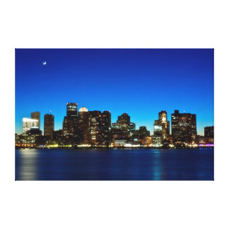 Boston skyline with moon canvas print