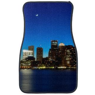 Boston skyline with moon car mat