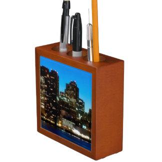 Boston skyline with moon desk organiser