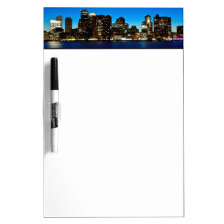 Boston skyline with moon dry erase board