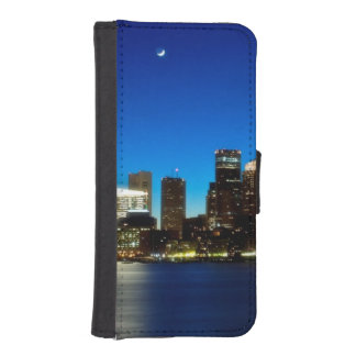 Boston skyline with moon iPhone SE/5/5s wallet case
