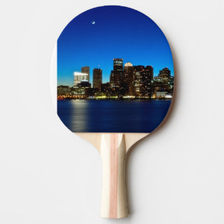 Boston skyline with moon ping pong paddle