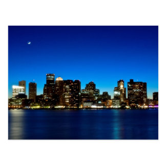 Boston skyline with moon postcard