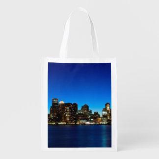 Boston skyline with moon reusable grocery bag