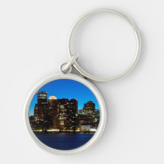 Boston skyline with moon Silver-Colored round key ring