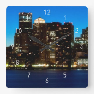 Boston skyline with moon square wall clock