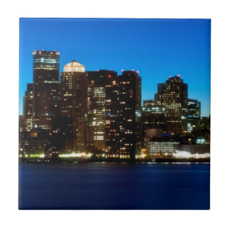 Boston skyline with moon tile