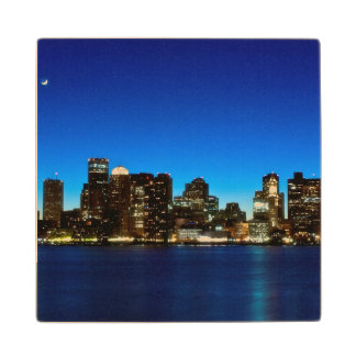 Boston skyline with moon wood coaster