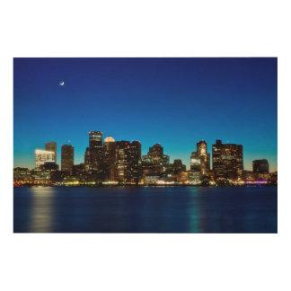 Boston skyline with moon wood prints