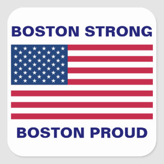 Boston Strong and Proud with Patriotic USA Flag Square Sticker