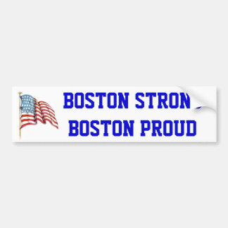 Boston Strong Boston Proud with USA American Flag Bumper Sticker