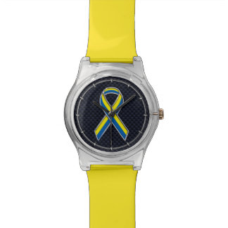 Boston Strong Chrome Style Ribbon Decor Watch