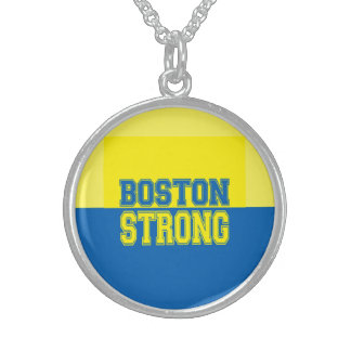 Boston Strong Gift Yellow and Blue Sterling Silver Necklace