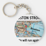 Boston Strong Map Basic Round Button Key Ring