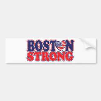 Boston Strong With Amricah Heart Bumper Sticker